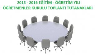 2015-2016 Öğretmenler Kurulu Toplantı Tutanakları