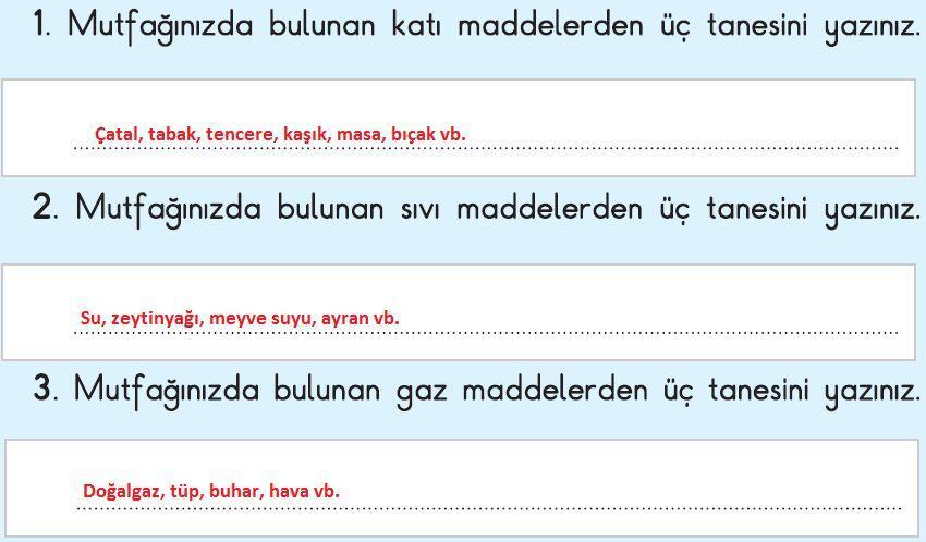3. Sınıf Fen Bilimleri İpekyolu Yayınları 2. Kitap 61. Sayfa-Değerlendirelim Cevapları