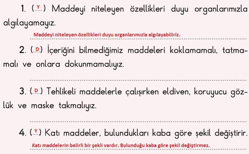 3. Sınıf Fen Bilimleri İpekyolu Yayınları 2. Kitap 62. Sayfa-A Cevapları