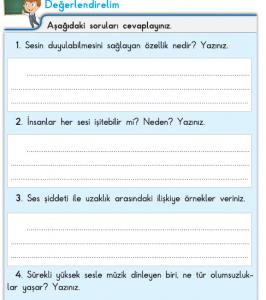 3. Sınıf Fen Bilimleri 84. Sayfa Cevapları