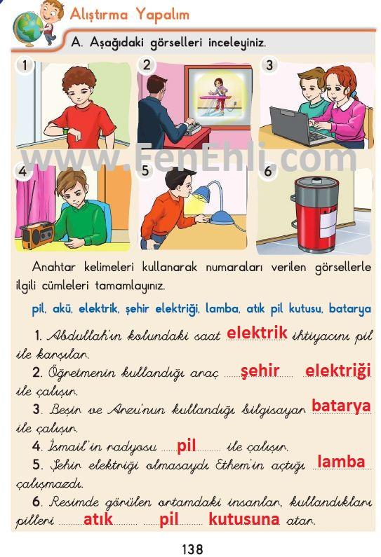 3. Sınıf Fen Bilimleri İpekyolu Alıştırma Yapalım 138