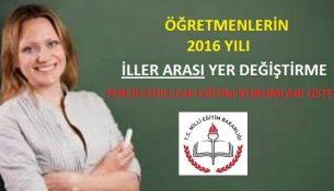 Öğretmenlerin 2016 Yılı İller Arası Yer Değiştirme Tercih Edilecek Eğitim Kurumları Listesi