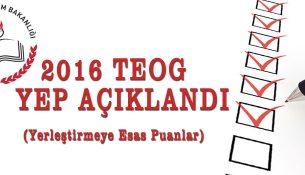 2016 TEOG Yerleştirmeye Esas Puan (YEP) Sonuçları