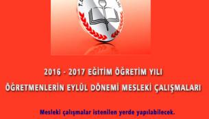 2016-2017 Eylül Dönemi Mesleki Çalışmalar