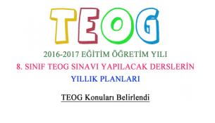 2016-2017 TEOG Sınavı Yapılacak Derslerin Yıllık Planları