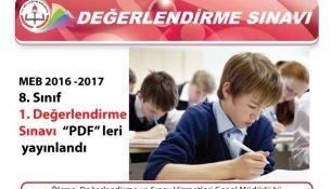 MEB 2016-2017 8. Sınıf 1. Değerlendirme Sınavı Yayınlandı