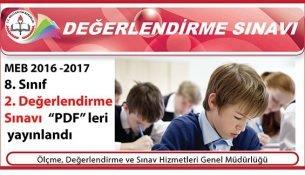 MEB 2016-2017 8. Sınıf 2. Değerlendirme Sınavı Yayınlandı